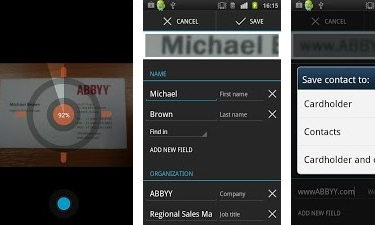 Abbyy business card reader for android hits version 30 mobilevillage business card reader has digital business cards that automatically populate with information after you photograph paper cards the app also lets you quickly reheart Gallery