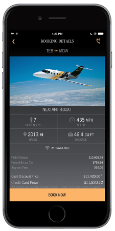 Skyjet private charter jet app select flight