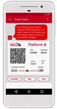 Virgin Trains priority boarding sms updates text alerts