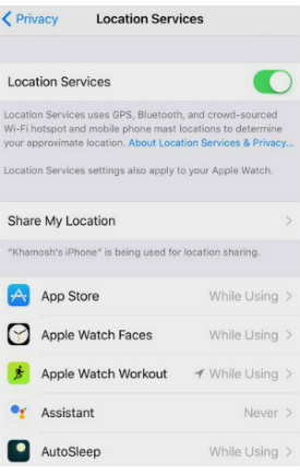 iOS 11 beta location settings